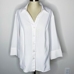 Dressbarn | Ivory Collared Button Front Top Career